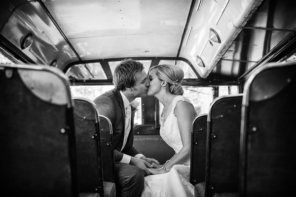 bride and groom on vintage bus www.oliviabrabbs.co.uk