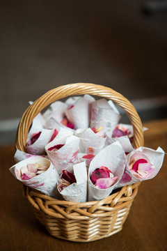 basket of wedding confetti petals