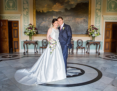 newby hall wedding bride and groom in entrance hall