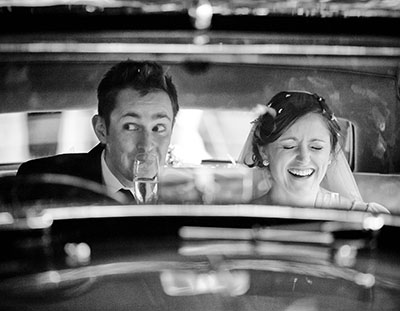 wedding photography at allerton castle near harrogate of bride and groom in wedding car